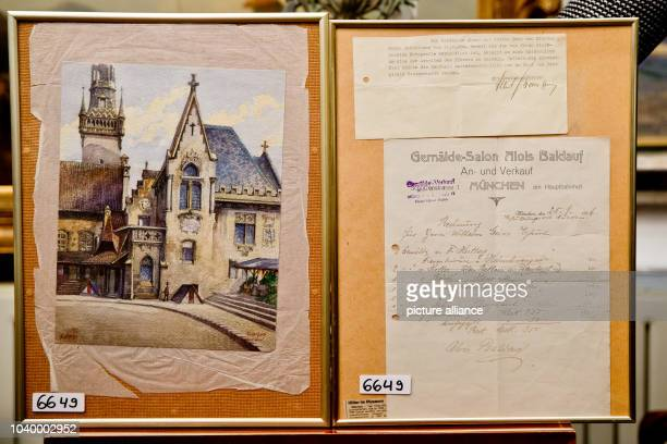 The water painting 'Altes Rathaus' its original bill and a letter which reads 'With many thanks I want to confirm that I received your letter from...