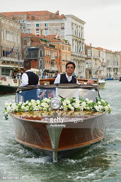 The water taxi of Aman Grand Canal Hotel brings Ana Ivanovic to the church for the wedding to Bastian Schweinsteiger on July 13 2016 in Venice Italy