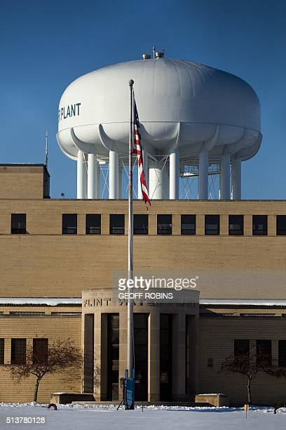 The water tower at the Flint Water Plant in Flint Michigan looms large over the city March 4 2016 nearly 2 years after the start of the city's water...