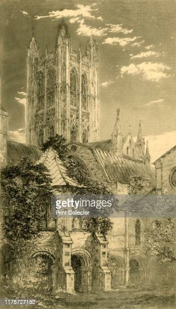 The Water Tower Canterbury Cathedral Canterbury Kent 1885 View of the octagonal Norman water tower built in the 1160s overgrown with foliage...