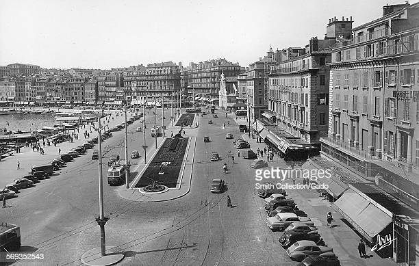The waterfront and city buildings Marseille France 1950
