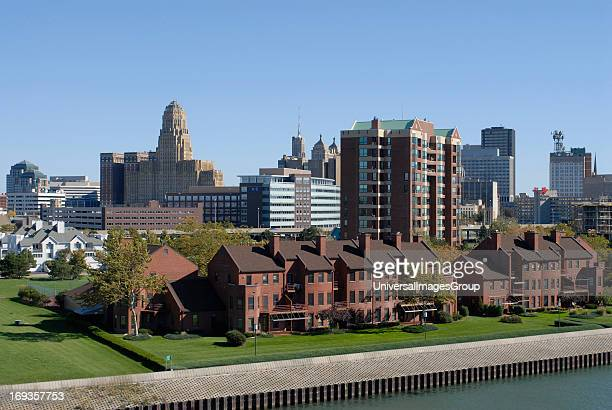 The waterfront and city of Buffalo, New York as seen from the inner harbor.