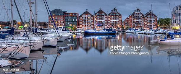 The waterfront in Ipswich at dusk