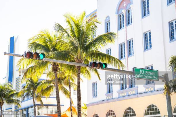 the waterfront of the famous ocean drive of miami beach. - boulevard stock pictures, royalty-free photos & images