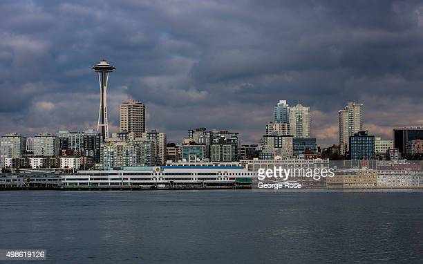 The waterfront the Space Needle and downtown skyline is viewed from the Bainbridge Island Ferry on November 4 in Seattle Washington Seattle located...