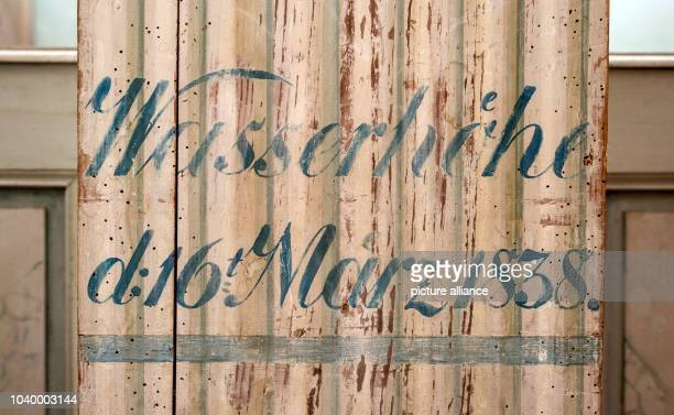 The waterlevel from 16 March 1838 is marked on a post in the church in Altmaedewitz Germany 14 December 2015 For years the couple Luise and Goetz...