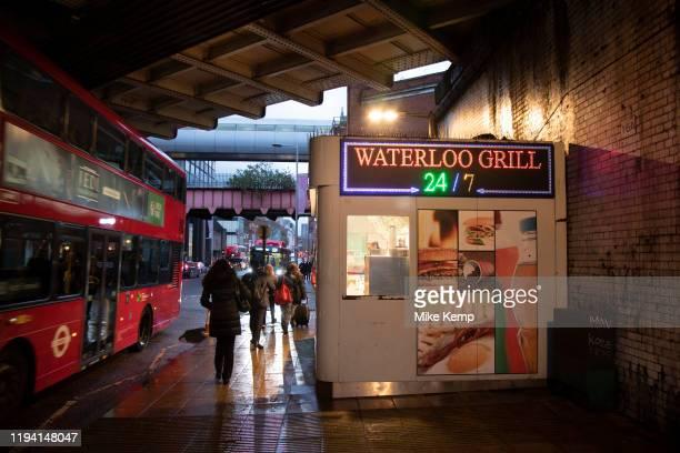 The Waterloo Grill fast food kiosk under the railway bridges near Waterloo station on 27th November 2019 in London, England, United Kingdom. This...