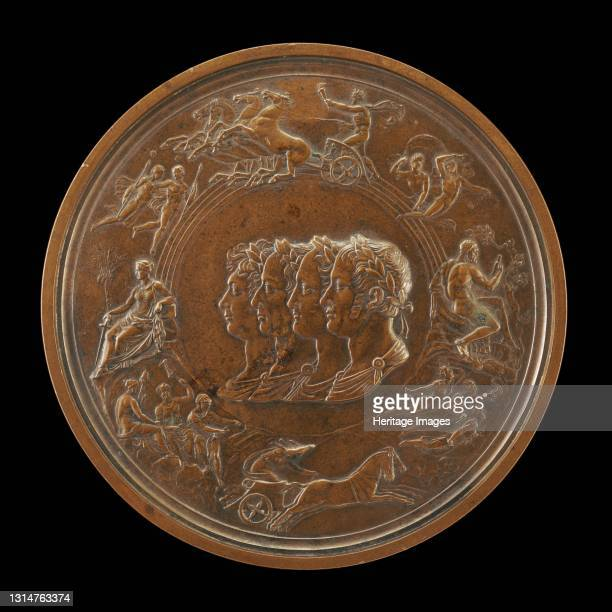 The Waterloo Medallion: The Prince Regent of England, Francis II of Austria, Alexander I...1861. Artist Benedetto Pistrucci.