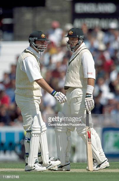 The Waugh brothers Mark and Steve batting together for Australia during the 2nd One Day International match against England at the Kennington Oval in...