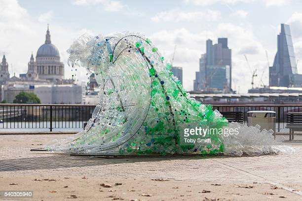 The Wave sculpture by Wren Miller commissioned to launch BRITA's sustainability campaign is on display on June 15, 2016 in London, England. BRITA has...