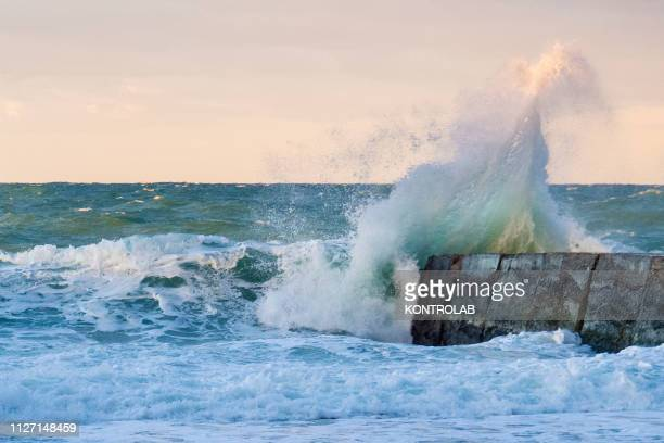 The waves of the Ionian sea hit the beaches of Schiavonea in Corigliano Rossano due to the strong storm due to bad weather causing flooding damage...