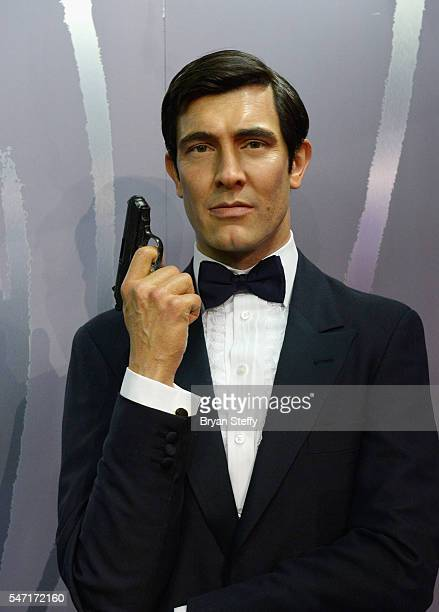 The wax figure of actor George Lazenby portraying James Bond is displayed as all six wax figures of the actors who played the character James Bond...