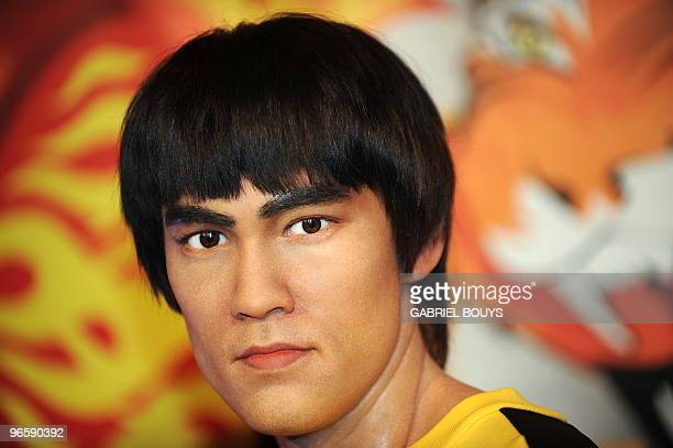 The wax figure of martial arts icon Bruce Lee is seen after been unveiled by his daughter Shannon Lee at Madame Tussauds in Hollywood California on...