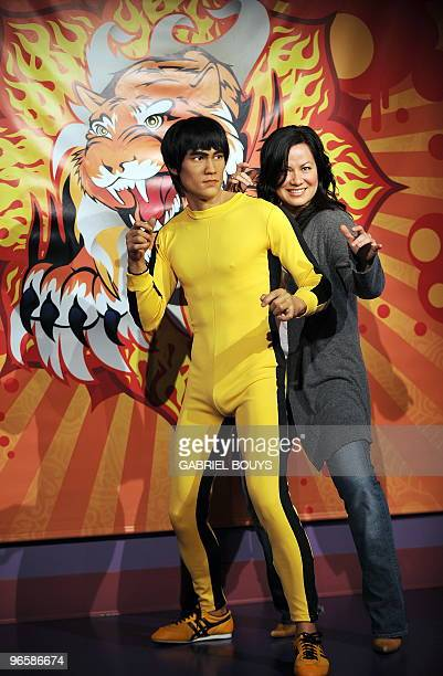 The wax figure of martial arts icon Bruce Lee is unveiled by his daughter Shannon Lee at Madame Tussauds in Hollywood California on February 11 in...