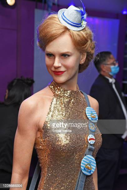 """The wax figure of Nicole Kidman during the Oktoberfest """"Tussauds'zapft is!"""" event at Madame Tussauds on September 24, 2020 in Berlin, Germany."""