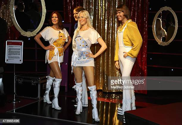 The wax figures of AnniFrid Lyngstad Benny Andersson Agnetha Faeltskog Bjoern Ulvaeus from the band ABBA are seen at Madame Tussauds Vienna on May 12...