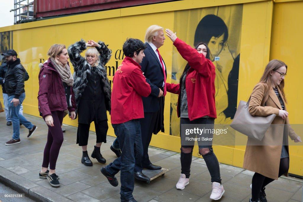 President Trump Waxwork Outside New London US Embassy : News Photo