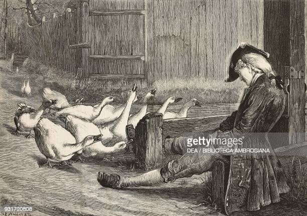 The way of the World a group of geese in front of a man in the pillory engraving after a painting by Samuel Edmund Waller illustration from the...
