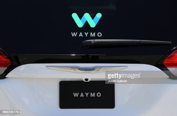 The Waymo logo is displayed on a selfdriving vehicle at the Google I/O 2018 Conference at Shoreline Amphitheater on May 8 2018 in Mountain View...