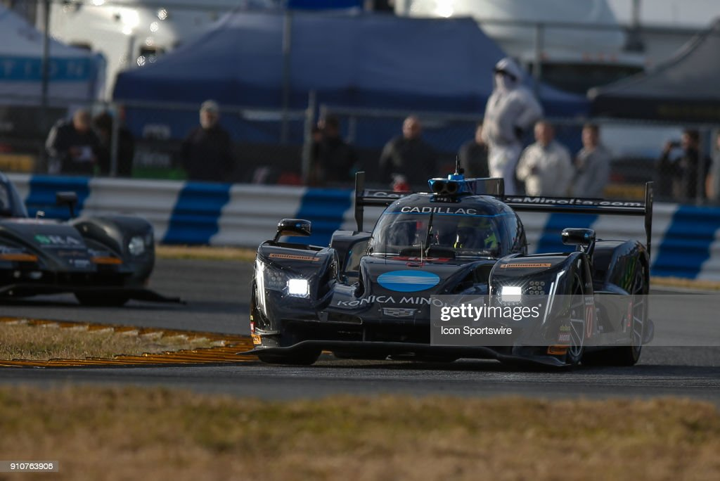 The #10 Wayne Taylor Racing Cadillac DPi-V.R. of Ryan Hunter-Reay, Jordan Taylor and Renger van der Zande races during Rolex 24 practice on January 26, 2018 at Daytona International Speedway in Daytona Beach, Fl.