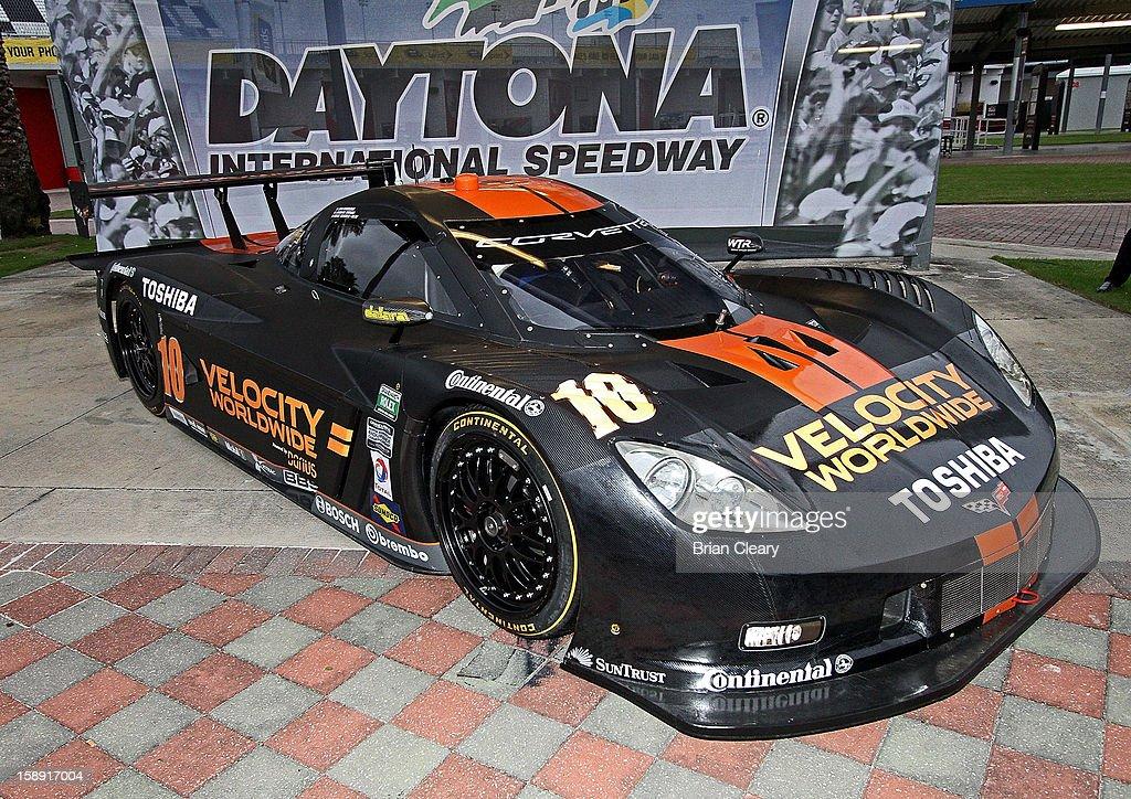 The #10 Wayne Taylor Racing Velocity Worldwide Corvette Dallara DP of Max Angelelli, Jordan Taylor and Ryan Hunter-Reay is displayed after a press conference announcing Velocity Worldwide as its new sponsor at Daytona International Speedway on January 3, 2013 in Daytona Beach, Florida.