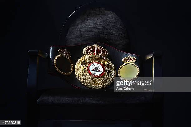 The WBA World Championship belt is pictured on a chair during the official weighin of Felix Sturm of Germany and Fedor Chudinov of Russia ahead of...