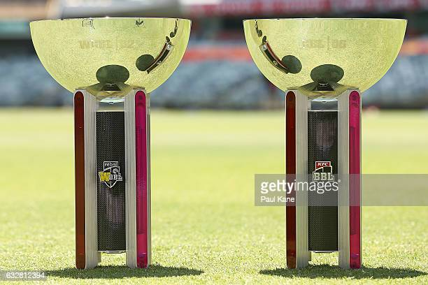 The WBBL and BBL trophies a presented on the field of play during a Big Bash League media opportunity at WACA on January 27 2017 in Perth Australia...