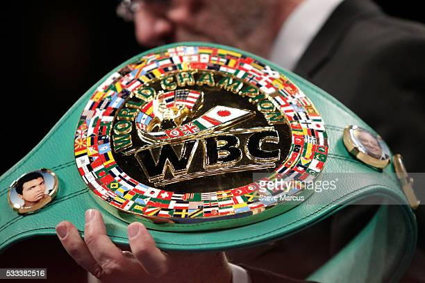 The WBC belt is displayed before the start of a fight between super welterweight boxers Jermell Charlo and John Jackson at The Chelsea at The...