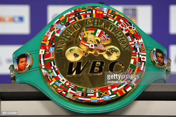 The WBC World Heavyweight Champion belt is pictured during a press conference on October 6, 2008 in Berlin, Germany. The WBC World Heavyweight...