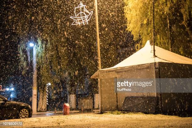 The weather phenomenon quotTilemachosquot with snowfall even at the beach of Nea Artaki / Chalkida on the island Euboea on January 7 2019