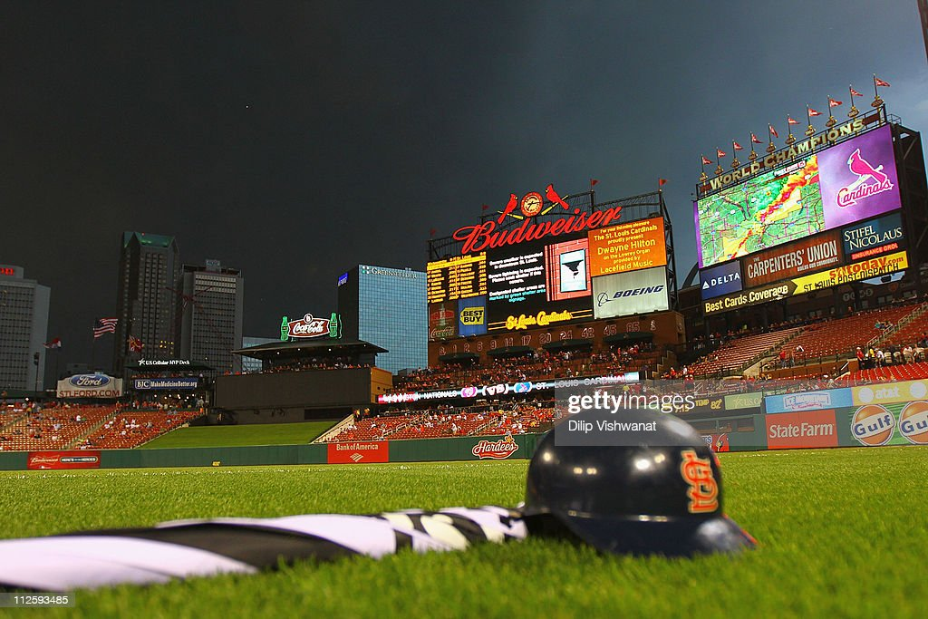 The weather radar is shown on the stadium scoreboard as a