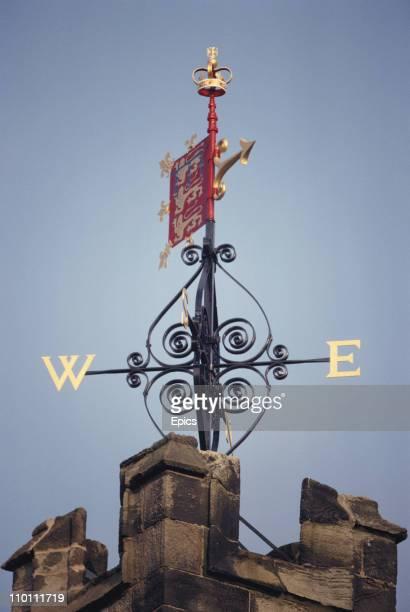 The weather vane above John O Gaunt's gateway, Lancaster castle, November 1989.