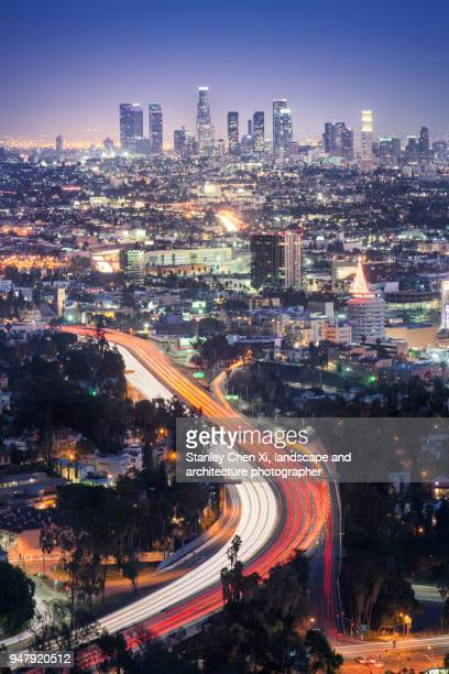 the weaving lights in la - mulholland drive stock photos and pictures