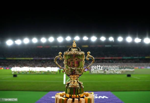 The Web Ellis Cup is seen on display as teams line up prior to the Rugby World Cup 2019 Final between England and South Africa at International...