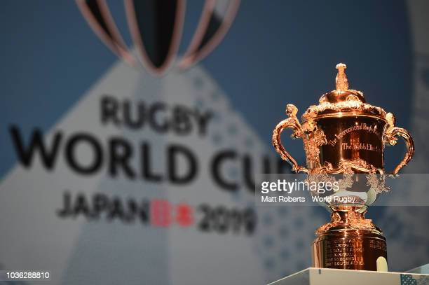 Rugby World cup 2019 organsng committee CEO Akira Shimazu speaks on stage during the Rugby World Cup One Year To Go at Meiji Kinenkan on September 20...