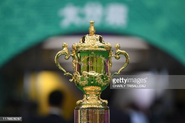 The Web Ellis Cup trophy is seen during the Japan 2019 Rugby World Cup quarterfinal match between England and Australia at the Oita Stadium in Oita...