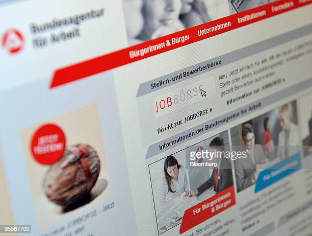 The web site of the Bundesagentur fuer Arbeit or Federal Labor Office is seen on a computer monitor in Rosenheim Germany on Tuesday Jan 5 2010 German...