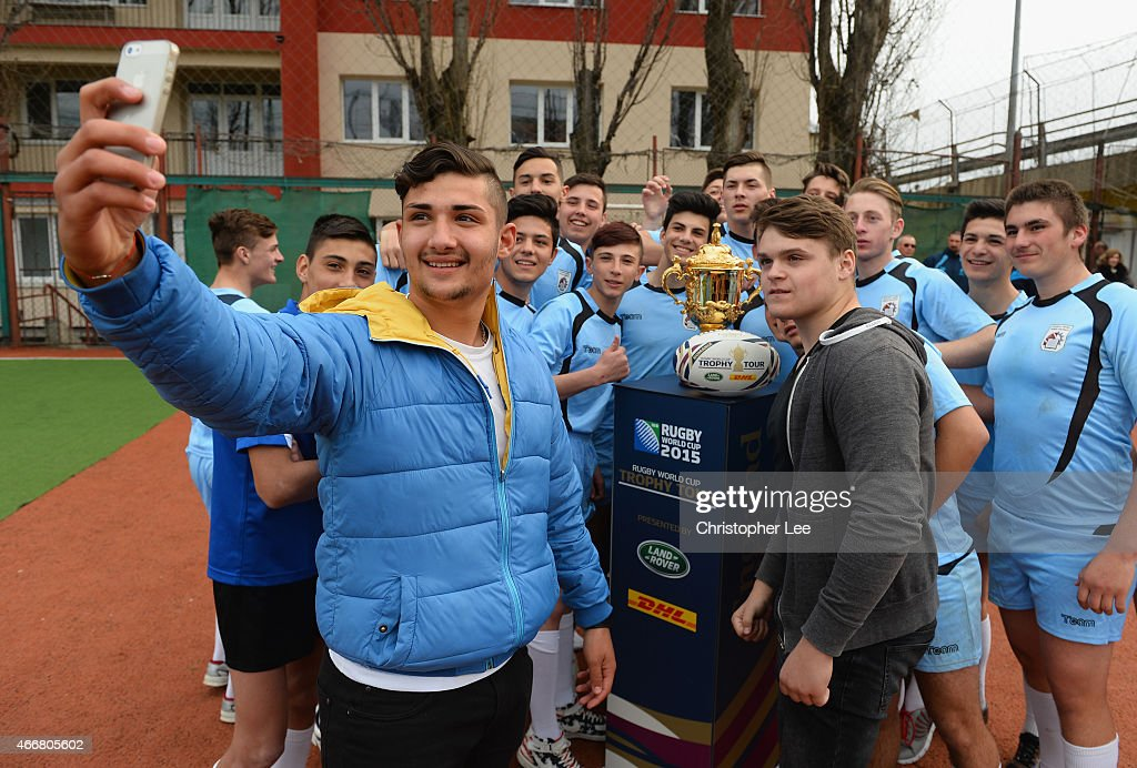 The Webb Ellis Cup arrives at Colegiul Tehnic Dinicu Golescu school during the Rugby World Cup Trophy Tour in partnership with Land Rover and DHL ahead of Rugby World Cup 2015 on March 17, 2015 in Bucharest, Romania.
