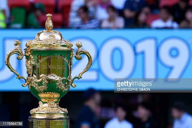 The Webb Ellis Cup is displayed before the Japan 2019 Rugby World Cup Pool D match between Wales and Uruguay at the Kumamoto Stadium in Kumamoto on...