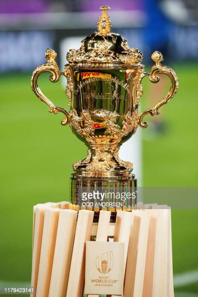 The Webb Ellis Cup is displayed before the Japan 2019 Rugby World Cup final match between England and South Africa at the International Stadium...