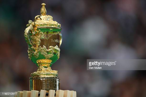 The Webb Ellis Cup is displayed prior to the Rugby World Cup 2019 Quarter Final match between England and Australia at Oita Stadium on October 19...