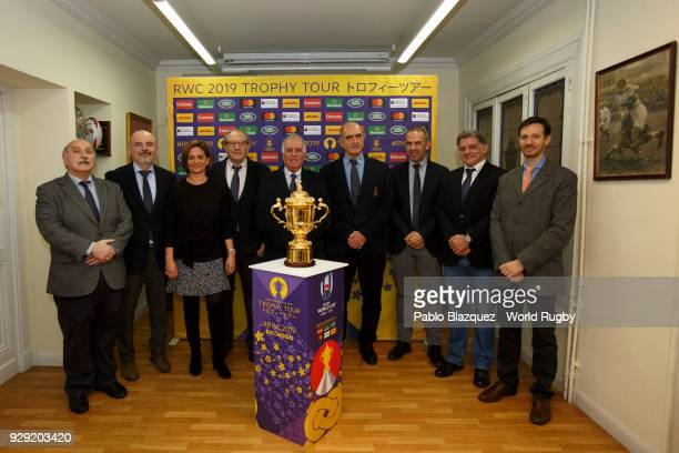 The Webb Ellis Cup is on display at a reception held by the Spanish Rugby Federation during day on March 8 2018 in Madrid Spain