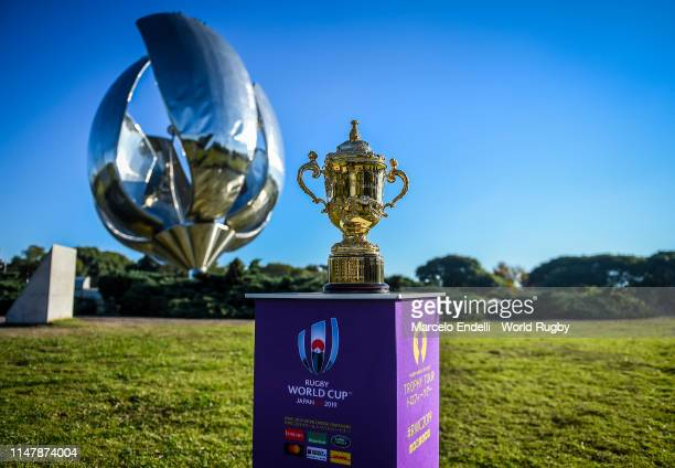 The Webb Ellis Cup is on display at Floralis Generica during day two of the Rugby World Cup 2019 Trophy Tour on June 3 2019 in Buenos Aires Distrito...