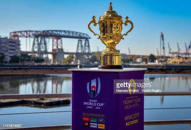 The Webb Ellis Cup is on display at Nicolas Avellaneda Bridge during day two of the Rugby World Cup 2019 Trophy Tour on June 3 2019 in Buenos Aires...