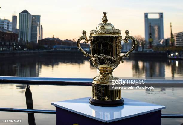 The Webb Ellis Cup is on display at the Women's Bridge in Buenos Aires during day two of the Rugby World Cup 2019 Trophy Tour on June 3 2019 in...