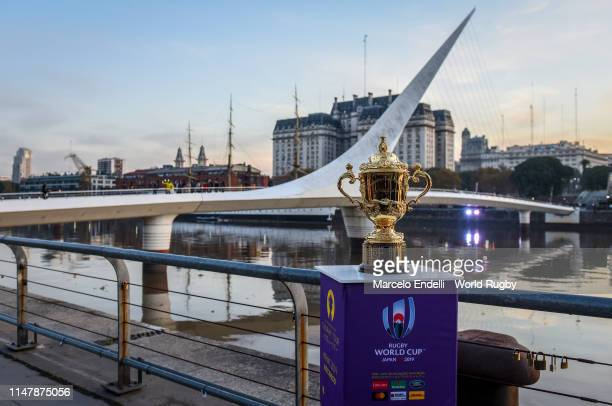 The Webb Ellis Cup is on display at the Women's Bridge in Buenos Aires during day two of the Rugby World Cup 2019 Trophy Tour on June 3, 2019 in...