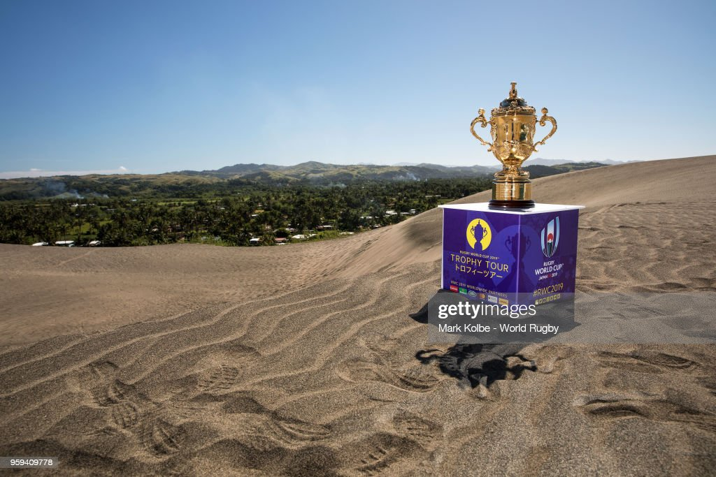 The Webb Ellis Cup is photographed at the The Sigatoka Sand Dunes National Park on May 17, 2018 in Sigatoka, Fiji.