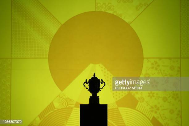 The Webb Ellis Cup is seen during a kickoff event to mark one year to go to the 2019 Japan Rugby World Cup in Tokyo on September 20 2018 World Rugby...