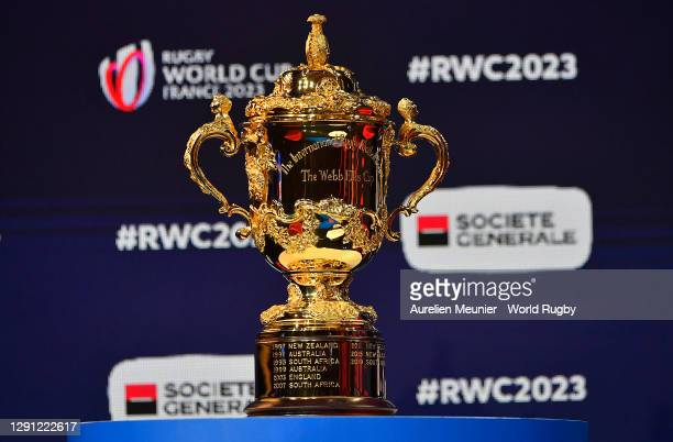 The Webb Ellis Cup is seen inside the venue prior to the Rugby World Cup France 2023 draw at Palais Brongniart on December 14, 2020 in Paris, France