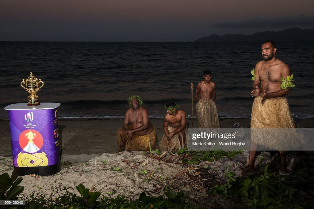 The Webb Ellis Cup is seen on display during a firewalking ceremony on the Rugby World Cup 2019 Trophy Tour at the The Pearl Resort on May 17, 2018 in Pacific Harbour, Fiji.